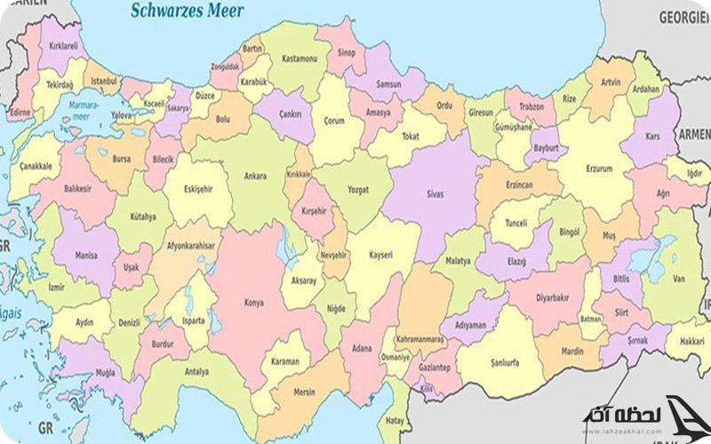 نقشه کشور ترکیه