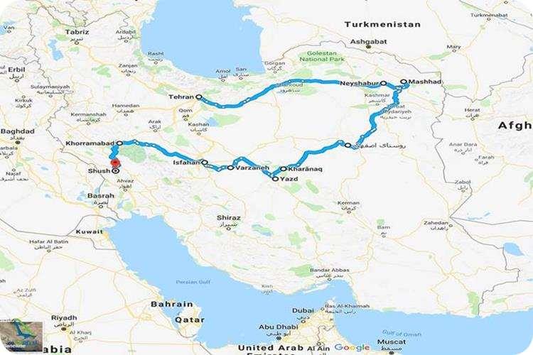 نقشه جاده ابریشم در ایران